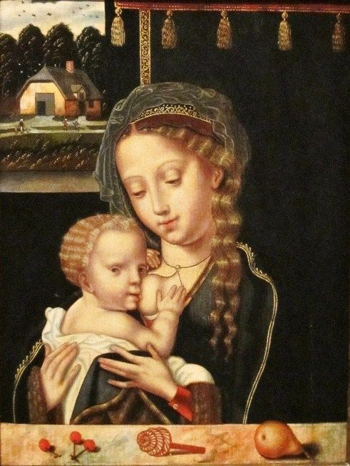Madonna with the child - Early Flemish School - 16th century.