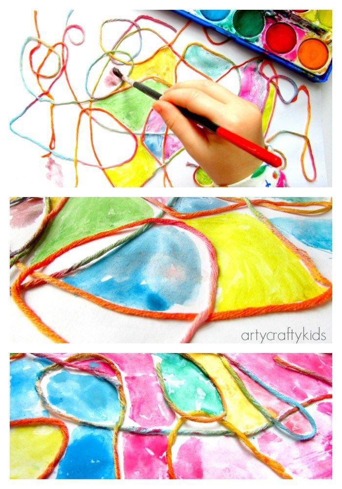 Dibujo abstracto realizado con acuarelas que la división se produce a través de hilos. Es una manera sencilla de que los alumnos se diviertan