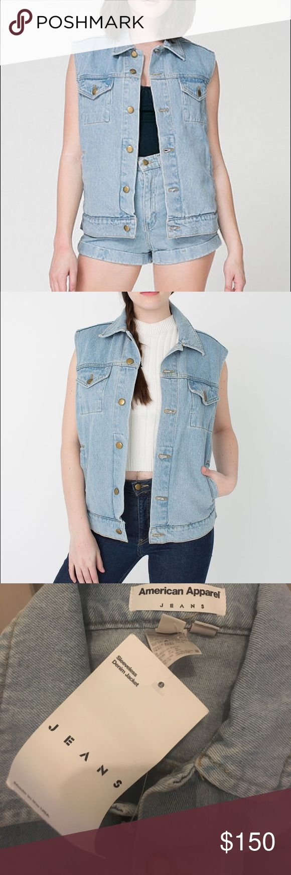 American Apparel Sleeveless Denim Jacket Unisex XS New with tags! Unisex / oversized fit. Stonewash. Sleeveless Denim jacket with button closures. Since this is a unisex small - this will fit a variety of sizes depending on how you want this to fit. American Apparel Jackets & Coats Vests