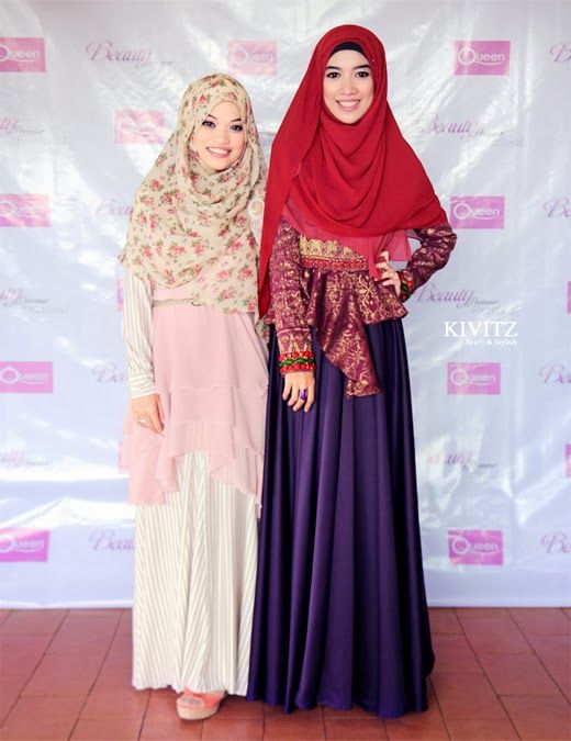red hijab, long sleeve red tenun fabric, and purple long skirt