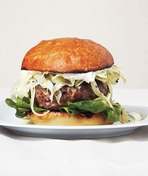 Lamb Burgers With Tangy Fennel Slaw. freaking YUM! i bet this is even good without the bun.