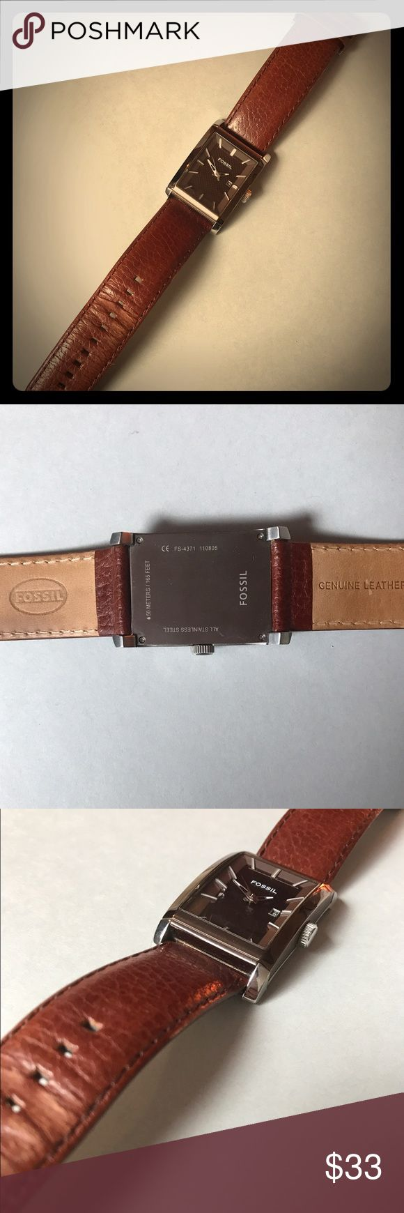 Men's Leather Fossil Watch NEEDS BATTERY REPLACEMENT! Brown leather Fossil watch with rectangular face. Stainless steel and leather, light wear. Fossil Other