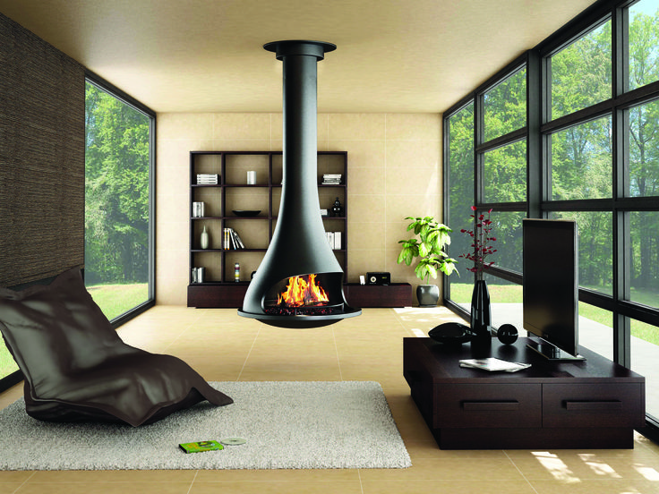 Suspended fireplace and Fire pits