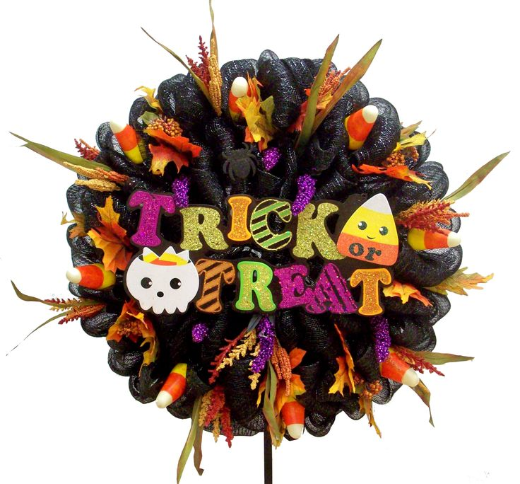 Trick or treat wreath designed by karen b a c moore for Michaels craft store erie pa