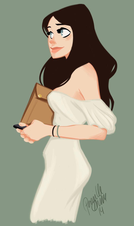 Girl illustration, White Dress / Illustrazione Ragazza, vestito bianco - Art by Perville