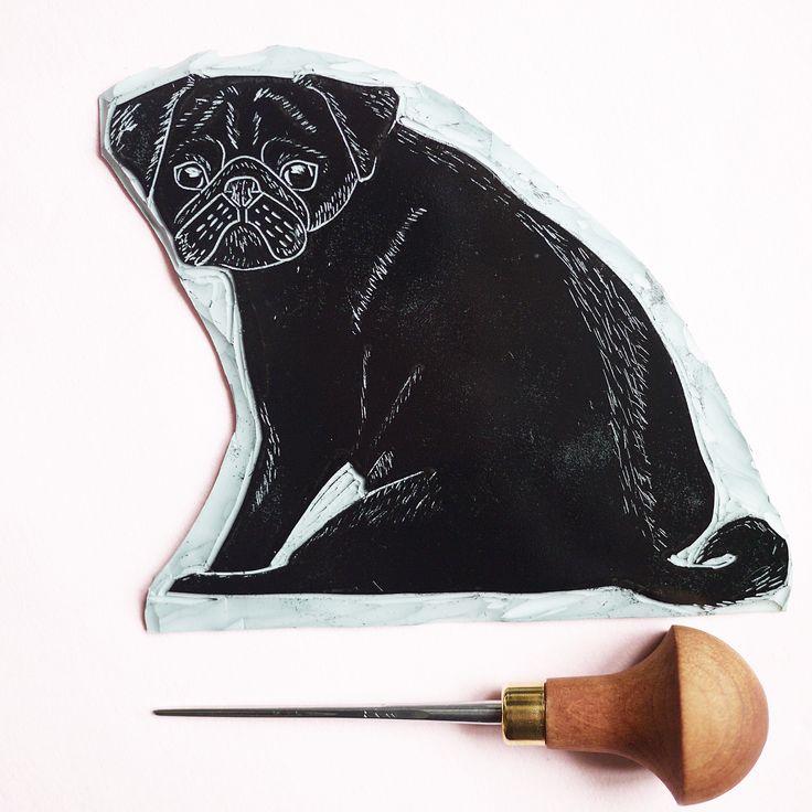 Black Pug Pugger Off Grumpy Pug Lino Print Lino Cut - The Black Pug Press
