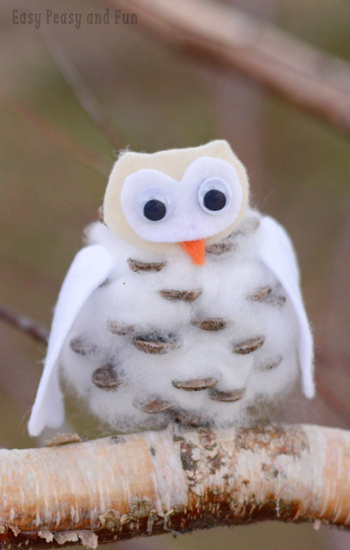Simple Winter Owl Pinecone Craft for Kids