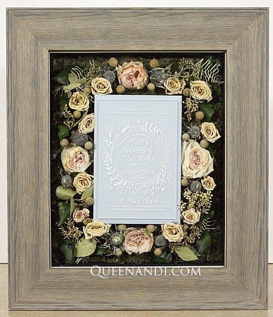 Transform your wedding flowers into a lasting work of art! The Stella Wedding shadowbox showcases @larsonjuhl frame - Lancaster Grey, @NielsenBainbridge mat - Matte Black (background). #queenandi #floralpreservation #weddingflowers