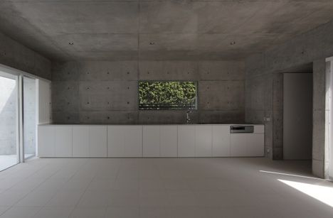 Concrete Kitchen w/o Wall Hung Cabinets + Concrete Wall Panels