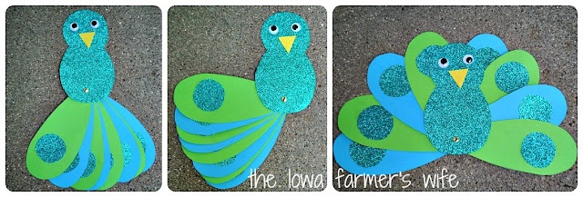 Peacock craft, with pin so feathers fan out.  Could do hearts on feathers for love lesson.