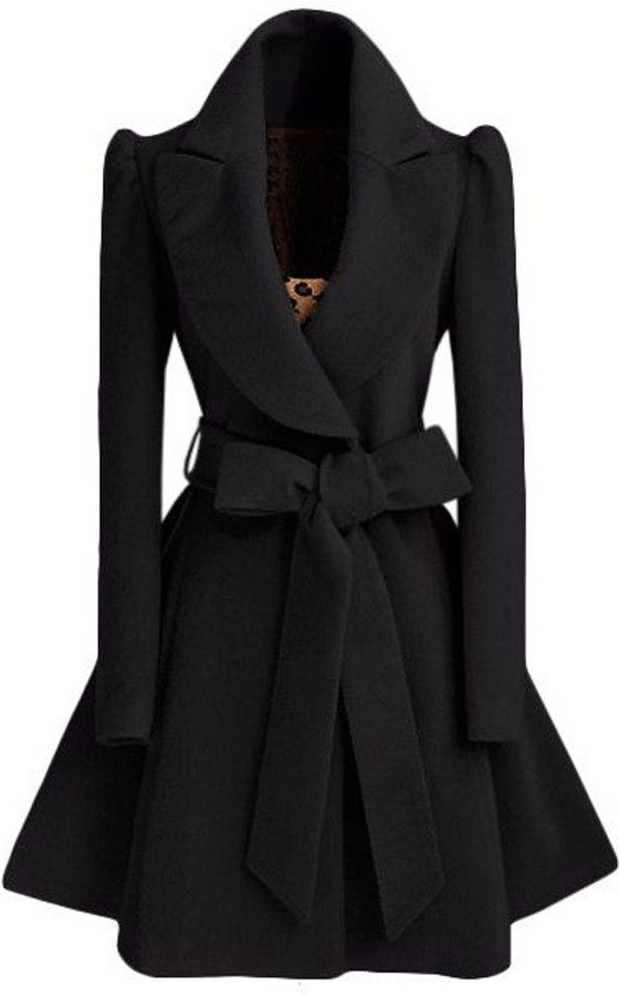 Love the Bow! Black Plain Bow Single Breasted Fashion Wool Coat