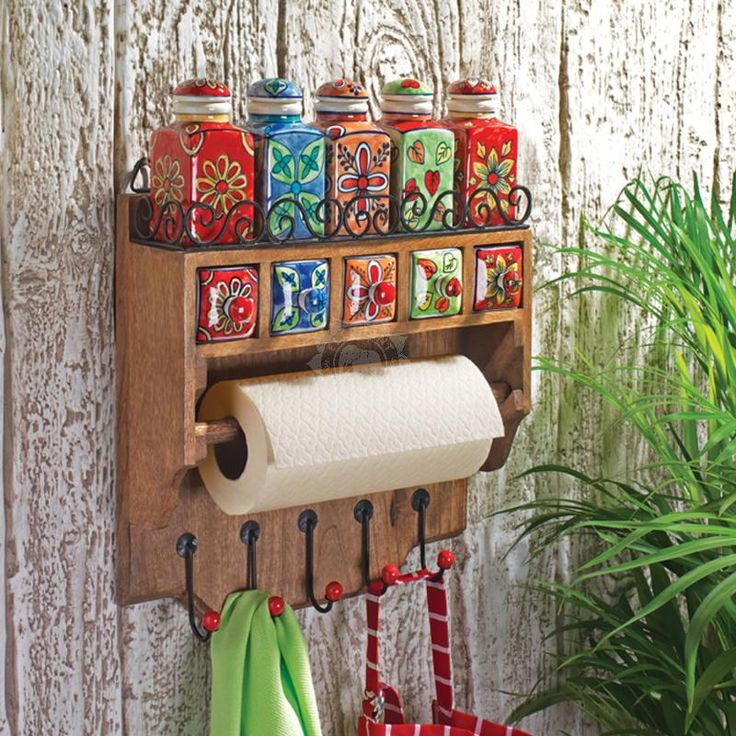 Handmade & Painted Kitchen Rack 5 Ceramic Spice Jars, Drawers and Hooks - Indian Furniture | Elephant Interiors