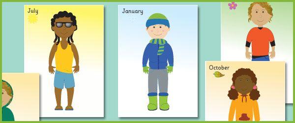Kinderen gekleed voor de seizoenen