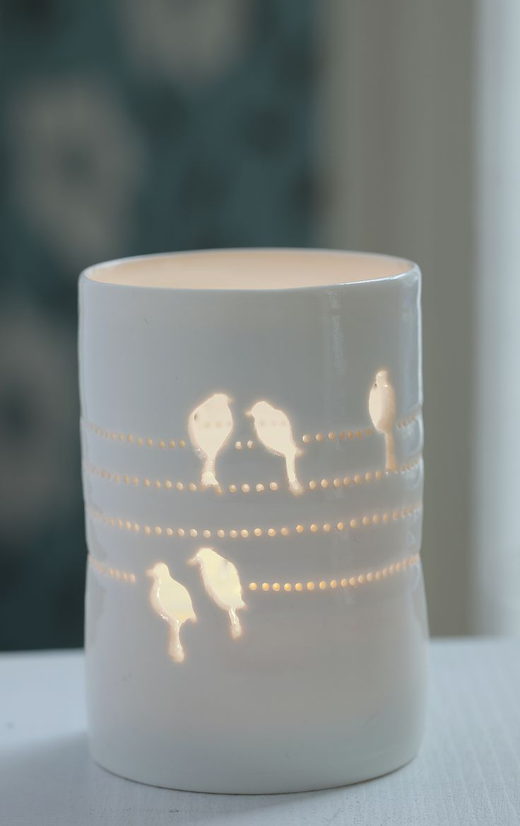 Birds on a Wire maxi tealight in thrown ivory white porcelain from www.lunalighting.co.uk