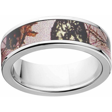 Mossy Oak Pink Break Up Women's Camo 7mm Stainless Steel Wedding Band with Polished Edges and Deluxe Comfort Fit, Size: 9