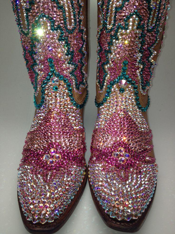 Swarovski crystal bling custom cowboy boots American by STLSparkle, $925.00