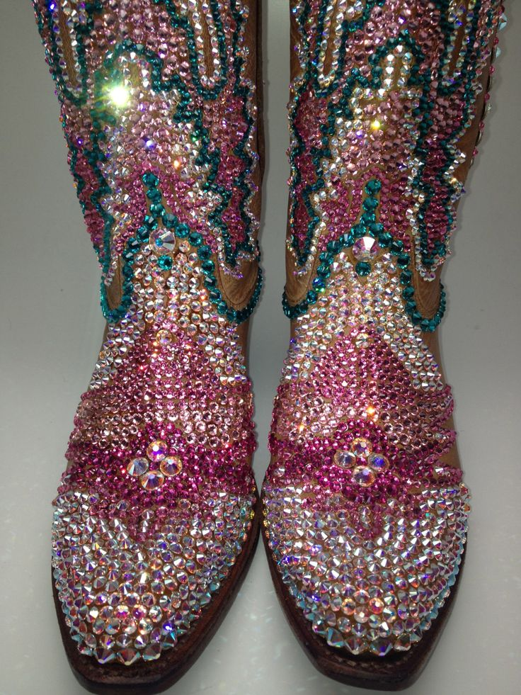 Sparkly Bling Nails: Swarovski Crystal Bling Custom Cowboy Boots American By