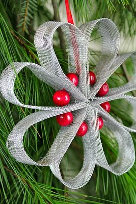 DIY Ornament- red beads and silver