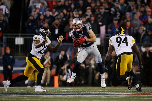 Julian Edelman Photos Photos - Julian Edelman #11 of the New England Patriots catches the ball against William Gay #22 and Lawrence Timmons #94 of the Pittsburgh Steelers during the second quarter in the AFC Championship Game at Gillette Stadium on January 22, 2017 in Foxboro, Massachusetts. - AFC Championship - Pittsburgh Steelers v New England Patriots