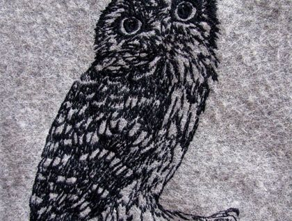 Freehand machine embroidery, by Katherine Bertram  +Owl+Kiwiana+bird+cushion+black+on++grey