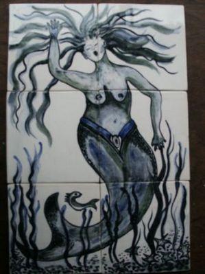 Zeemeermin op 6 tegels, geschilderd door Annelies Tijman-Bergisch