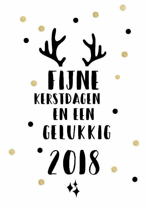 Simpele zwart witte kerstkaart met wat gouden stippen en gewei, verkrijgbaar bij #kaartje2go voor € 0,99