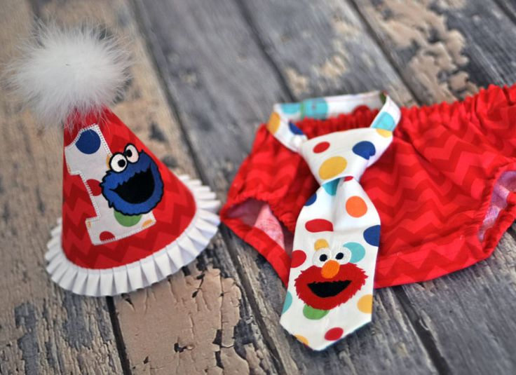 Boys Birthday Party Hat, Diaper Cover, Tie - First Birthday, Smash Cake Pics, Photo Prop - Cookie Monster Elmo Sesame Street Red Chevron Lolli Dots. Elmo Cake Smash Outfit.  Cookie Monster Cake Smash Outfit.  Lolli Dots Cake Smash.