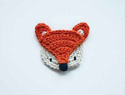 free fox applique design | Crochet applique patterns by Caroline Guzman | Kelzuki blog