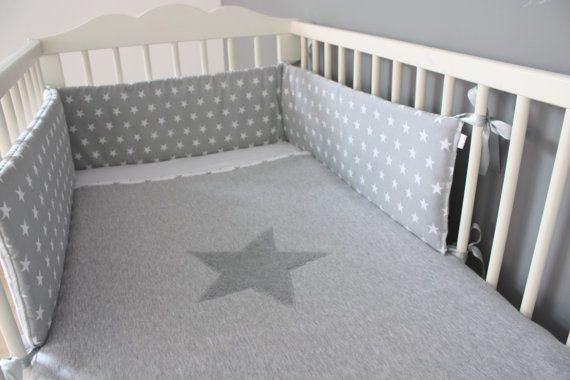 Baby Cot Bumper Crib Bumper Baby Bedding Grey Bedding by myTITU,