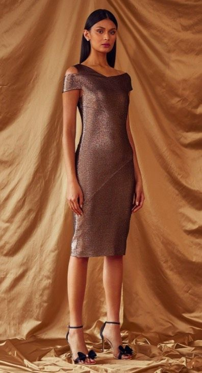 51125e560f589 Pair this MAGGZ Midi Metallic Bodycon Dress from Ted Baker with a pair of  his velvet bow heals for a subtly sexy