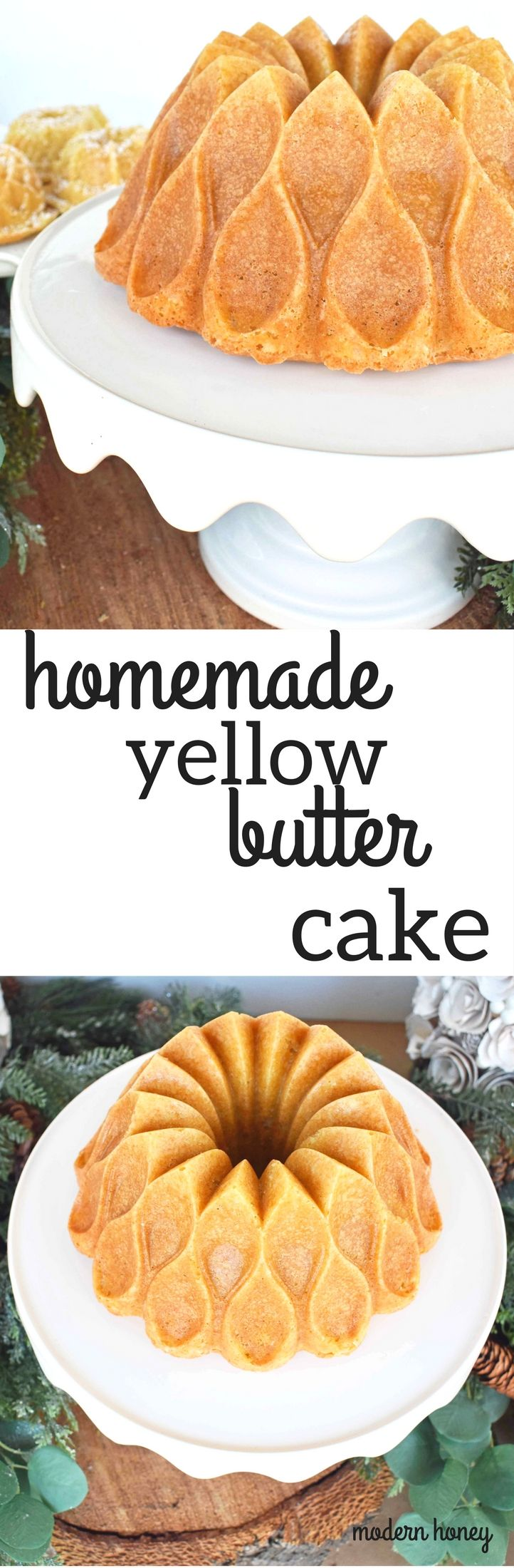 Homemade Yellow Butter Cake made from scratch. Simple cake using only the freshest ingredients to make a perfect yellow butter cake every single time. www.modernhoney.com