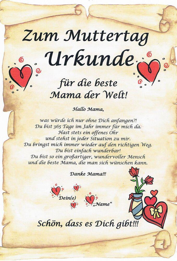 Urkunde f/ür die Weltbeste Mama Geschenkkarte zum Geburtstag Weihnachten Muttertag