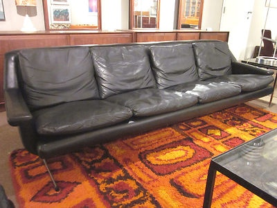 mid century black leather 4 seater sofa c1960s made in germany highland interiors pinterest. Black Bedroom Furniture Sets. Home Design Ideas