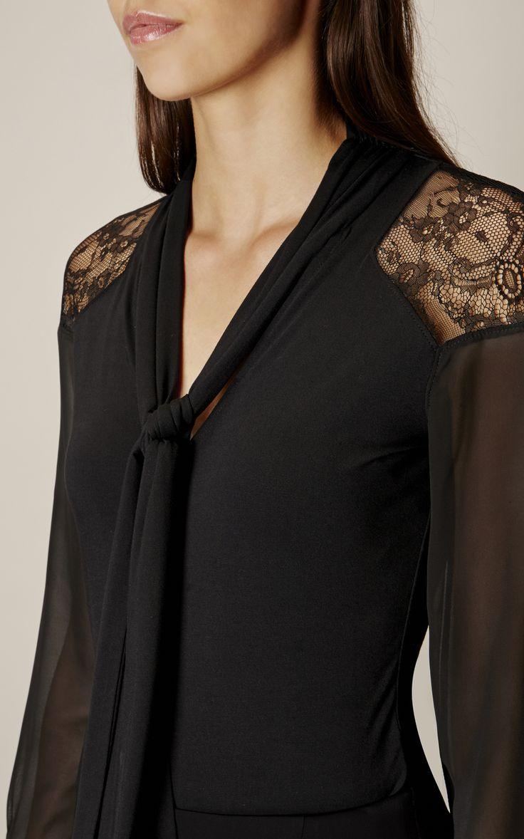 Karen Millen, TIE NECKLINE TOP Black