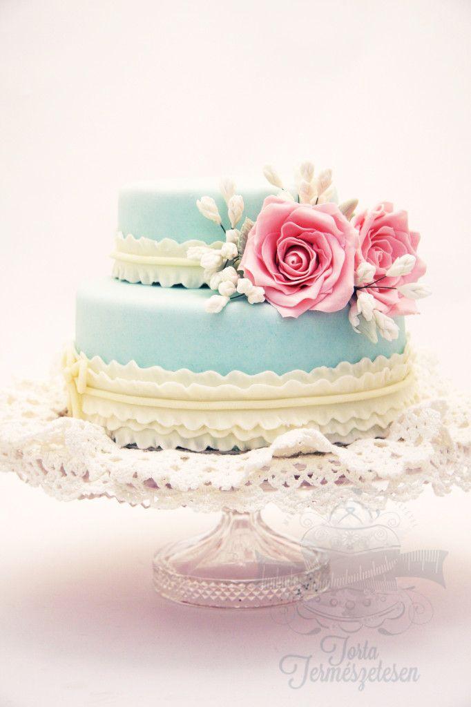 Rózsás torta vintage stílusban