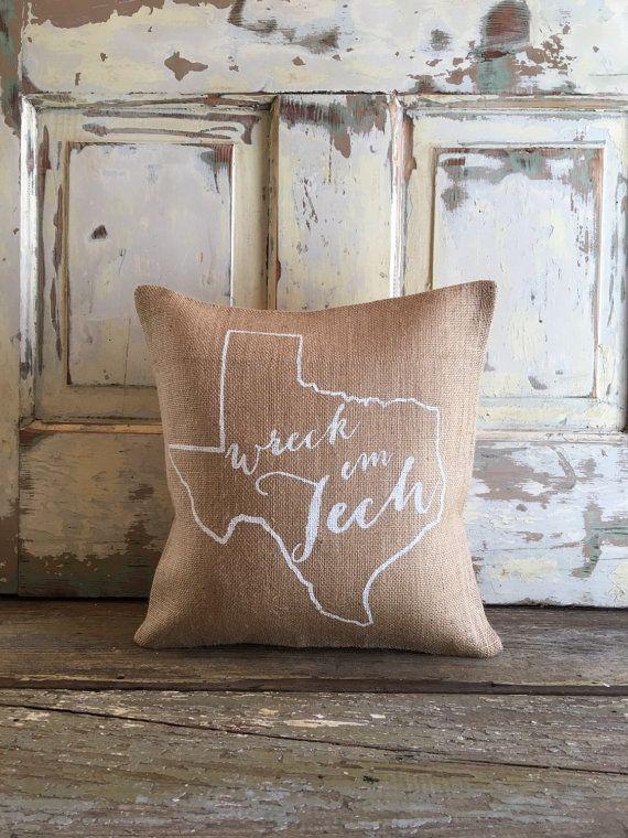 Burlap Pillow Wreck 'em Tech Texas Tech pillow by TwoPeachesDesign