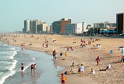 Virginia Beach.  Late September is a great off season time to visit.  Hotel rooms are reasonably priced and you have the beach to yourself