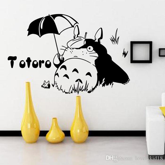 Lovely My Neighbor Totoro Wall Sticker Under Umbrella Totoro Wall Decals  Art Kids Room Kindergarden Home