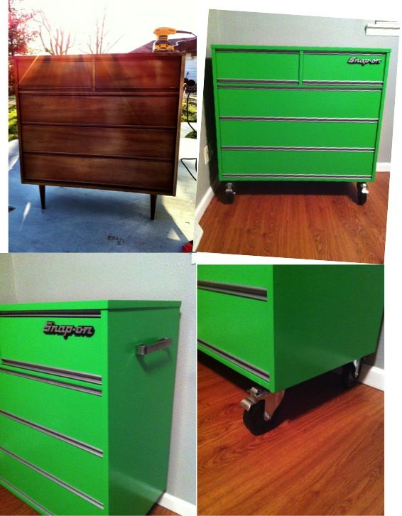 Before and after tool chest dresser. That's amazing so cool.