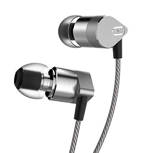 IAXSEE SD-08 In Ear Headphones with Microphone Metal Noise Isolating Earphones Earbuds for iPhone iPad iPod Android Smartphones Tablets Laptop Mac Computer MP3/4 (GREY)
