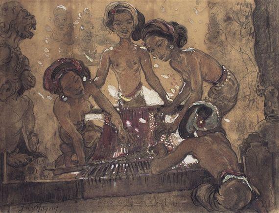Adrien Jean Le Mayeur de Merprès - Weaving Lesson
