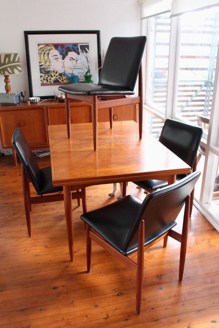 Mid Century Parker Slab Back Teak Dining Chairs In Black Dining Chairs Teak Dining Chairs Modern Dining Chairs