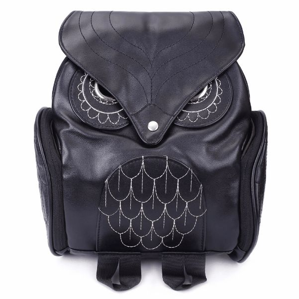 Preppy Owl Pattern and Stitching Design Women's Satchel - Black $4.99