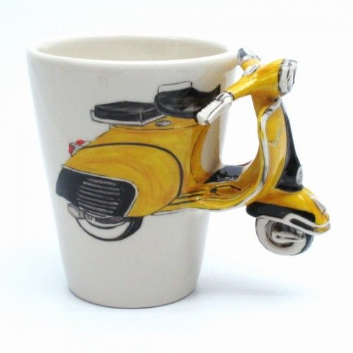 Yellow Classic Vespa Motorcycle Ceramic Mug Gifts Collectibles 0004