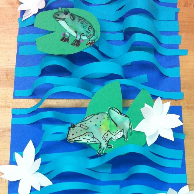 Do with third grade art element review--3-d form, line waves, do water lily flowers out of paper?