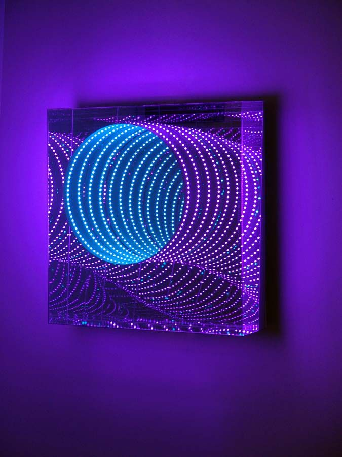 """Hans Kotter, """"Limitless"""", 2011, color-changing LED lights inside Plexiglas with mirrored walls, creating an endless visual space."""