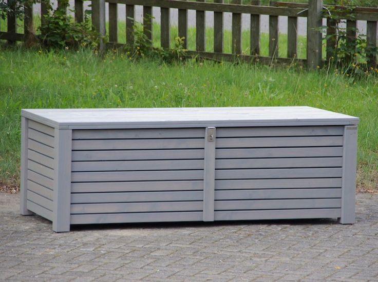 Kissenbox / Auflagenbox aus Holz, Transparent Geölt Grau