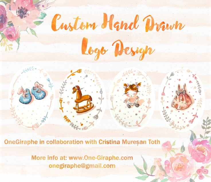 In collaboration with artist Cristina Mureșan-Toth we offer Custom Hand Drawn Logo Design <3 Find out more: http://www.one-giraphe.com/prev.php?c=178  #handdrawn #handmade #customlogo #etsy #logo #logodesign #baby #sweet #babystore #babybusiness #babyclothing #needlogo #graphic #designer #smallbusiness