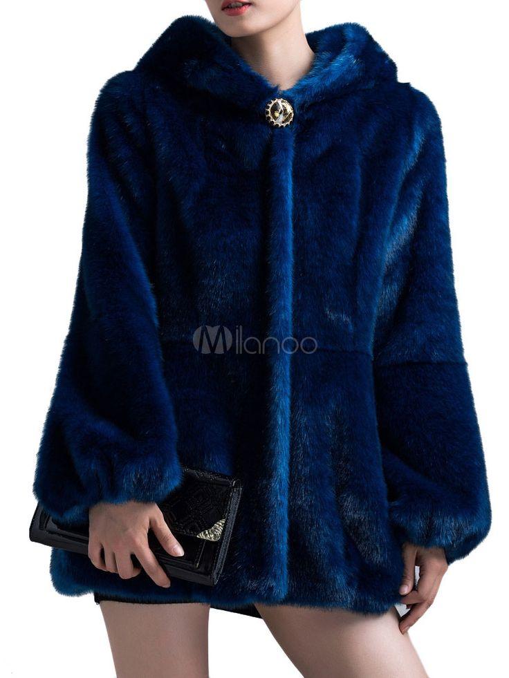 Cappotto di pelliccia con cappuccio - Milanoo.com