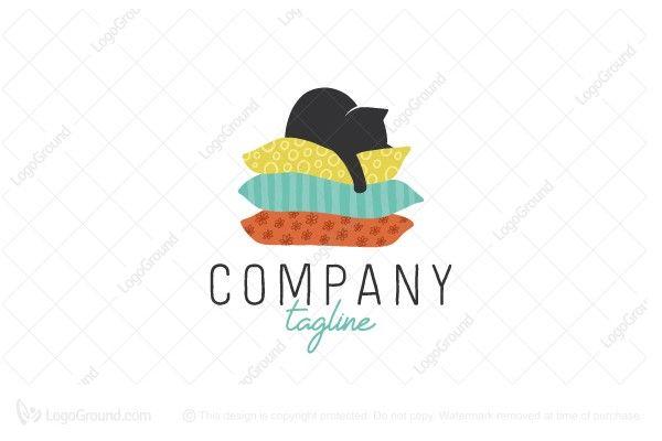cat on pillows logo sleep logo